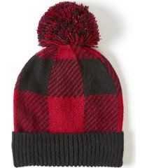 lane bryant women's buffalo plaid pom pom hat onesz crimson