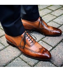 handmade men tan color wingtip brogue formal dress shoes, men formal shoes