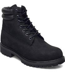 6 in double collar boot snörade stövlar svart timberland