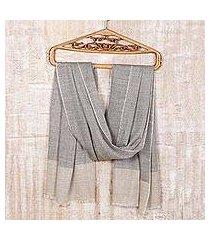 wool and silk blend shawl, 'soft khaki tweed' (india)