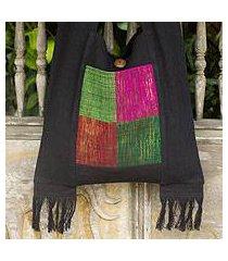 cotton shoulder bag, 'thai jewel' (thailand)