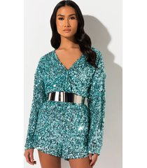 akira so fresh mint sequin romper