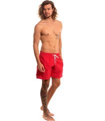 shorts praia tactel liso lavíbora - vermelho multicolorido