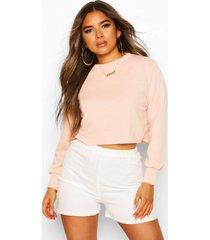 petite oversized kort sweatshirt, perzik