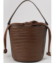 bolsa feminina balde média croco alça transversal removível marrom