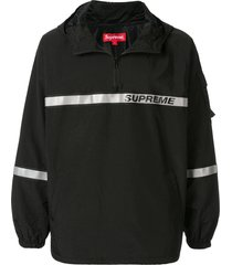 supreme reflective taping hooded pullover windbreaker - black
