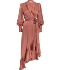 silk wrap midi dress in rose