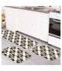 kit tapete de cozinha abstrato black único
