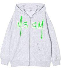 msgm grey hoodie with logo