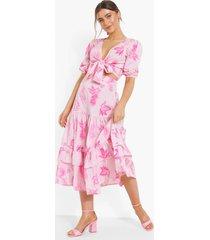 geknoopte paisley bloemenprint top en maxi rok, rose