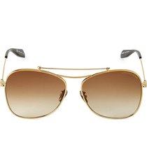 alexander mcqueen women's 20mm aviator sunglasses - brown