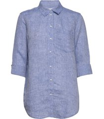 boyfriend shirt in linen långärmad skjorta blå gap