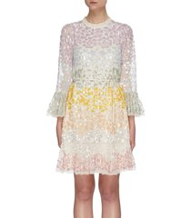 'chakra' rainbow sequin embellished long sleeve tulle mini dress