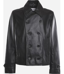 loewe double-breasted leather jacket with embossed anagram