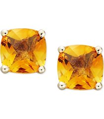 14k gold earrings, cushion cut citrine stud earrings (1-3/4 ct. t.w.)