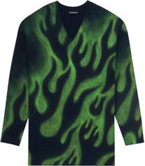 black and green wool sweater