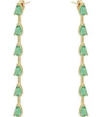 brinco piuka chiara zircã´nia turmalina folheado a ouro 18k - verde - feminino - dafiti