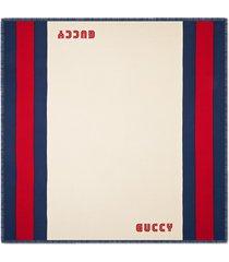 gucci guccy web modal silk scarf - neutrals