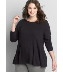 lane bryant women's boatneck back-tie fit & flare top 26/28l black