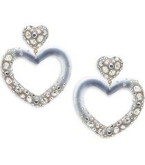 alexis bittar women's 10k goldplated, lucite & crystal heart drop earrings