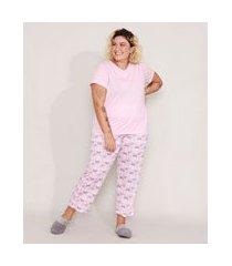 pijama manga curta plus size borboletas rosa