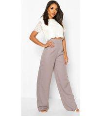 geweven kanten top en pantalons set, grijs