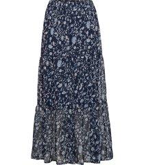kafiona chiffon skirt knälång kjol blå kaffe