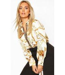 plus kettingprint blouse, wit