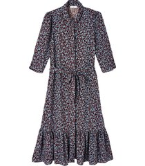 mönstrad, rak skjortklänning med armbågslång ärm