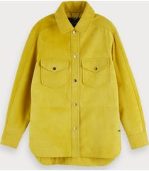scotch & soda longer length long sleeve suede jacket