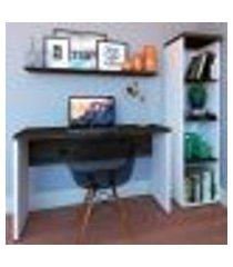 conjunto de mesa com estante e prateleira de escritório corp branco e ameixa negra