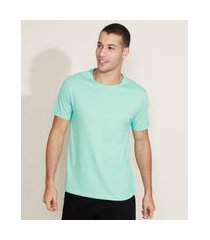 camiseta masculina manga curta básica gola careca azul claro