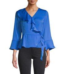 ava & aiden women's ruffle wrap blouse - cobalt - size m