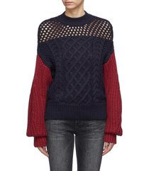 colourblock cotton-wool mix knit sweater