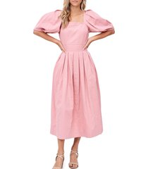 en saison square neck puff sleeve pleated cotton dress, size x-small in pink at nordstrom