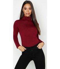 basic turtle neck long sleeve top, wine