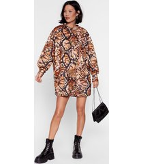 womens in my own skin animal sweater dress - natural
