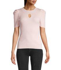 525 america women's puffed-sleeve sweater - light pink - size xs