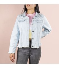 chaqueta de mujer azul con perlas cosmos 100132