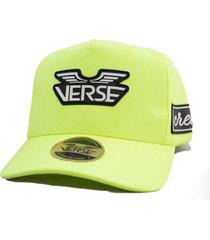 bone aba curva trucker verse limited hype amarelo neon snapback