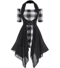 plaid off shoulder dress with lace up halter vest