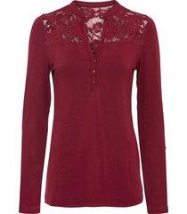maglia serafino con pizzo (rosso) - bodyflirt