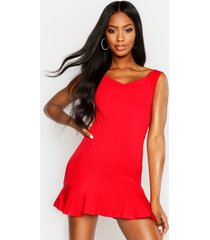 bardot v neck frill hem mini dress, red