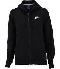 jaqueta de moletom com capuz nike sportswear hoodie fz flc - feminina - preto