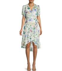 floral high-low faux wrap dress