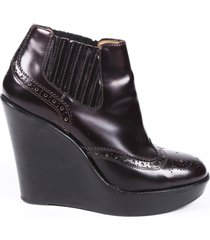 burberry leather wedge booties brown sz: 8.5