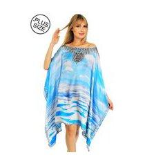 .kaftan 101 resort wear vestido cetim crepe estampado paisagem azul