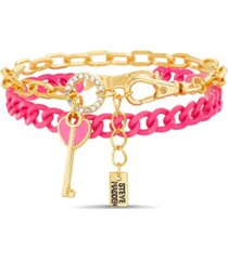 steve madden 2-pc mixed shiny and color chain bracelet set with casted enamel key charm