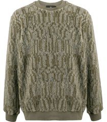 stone island shadow project textured furry sweater - green