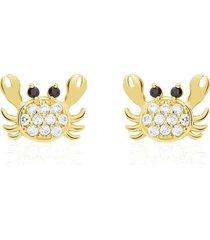 orecchini a lobo granchio in oro giallo e zirconi bianchi e neri per donna